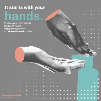 It starts with your hands covid-19 template vector