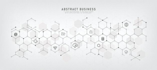 Ит-технологии и вспомогательные векторные иллюстрации с концепциями со значками, относящимися к цифровым сетям, используемым в бизнесе, и программных приложениях служб кибербезопасности сервер и беспроводная связь