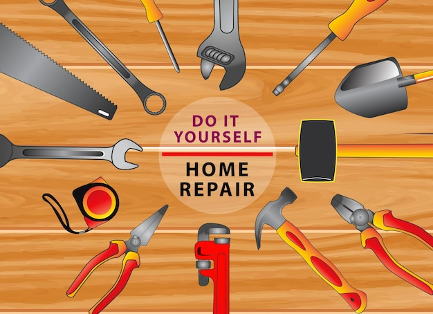 Do it yourself concept or set of hand tools eps vector