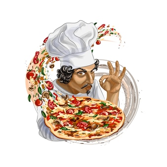 Итальянский повар держит пиццу. реалистичные векторные иллюстрации красок