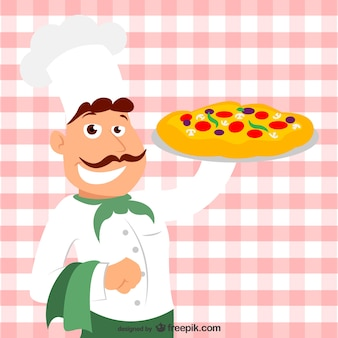 Italian chef with a pizza