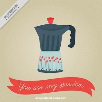 사랑의 메시지와 함께 이탈리아 커피 메이커