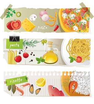 Italian cuisine dishes banner set