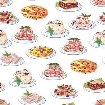 Italian cuisine dishes pattern on white background