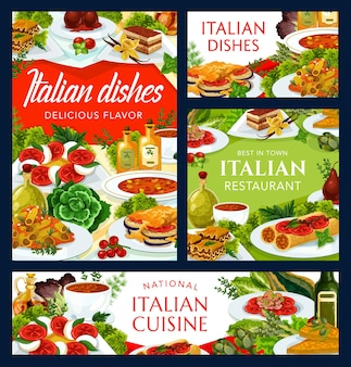Italian cuisine dishes turin soup, spicy tomato soup, vegetable cheese omelette and mushroom pasta
