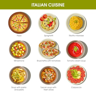 Italian cuisine flat colorful poster with traditional dishes