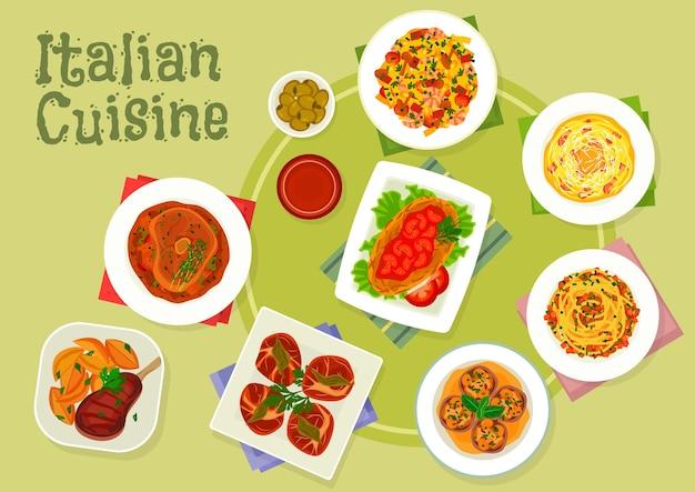파스타 카르 보 나라를 사용한 이탈리아 요리 고기 요리