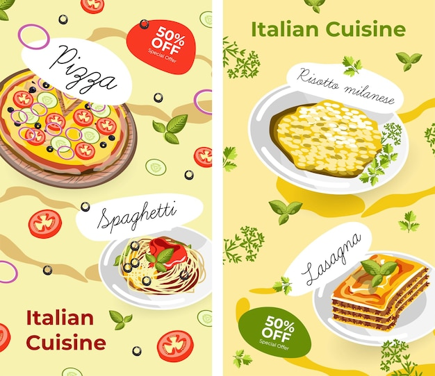 Italian cuisine menu and promotions with sales
