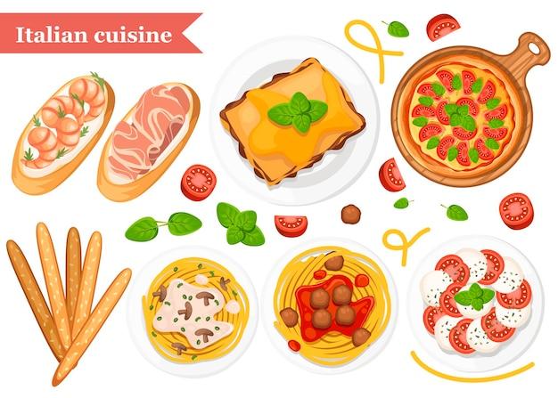 イタリア料理。ピザ、スパゲッティ、リゾット、ブルスケッタ、グリッシーニ。皿と木の板の上の古典的なイタリア料理。白い背景の上の平らなイラスト。
