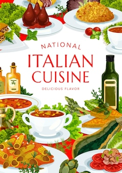 이탈리아 요리 토리노와 매운 토마토 수프, 미네 스트로 네, 리조또, 멜론과 프라 슈토