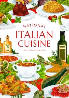 Italian cuisine turin and spicy tomato soup, minestrone, risotto, melon with prashuto