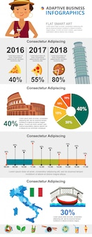 Italian culture and marketing infographic charts set