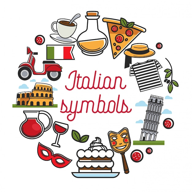 Italian elements compositions with national architecture and cuisine