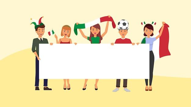 空白のバナーを持つイタリアのファンは、次の試合のためにイタリアのサッカーチームをサポートします