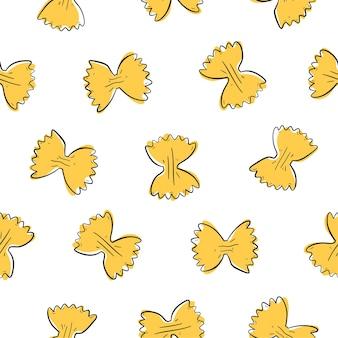 Italian farfalle pasta seamless pattern hand drawn sketch style