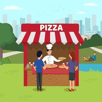 Italian fast food sale flat vector illustration