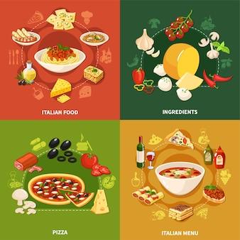 Insieme di concetto dell'illustrazione del cibo italiano 2x2