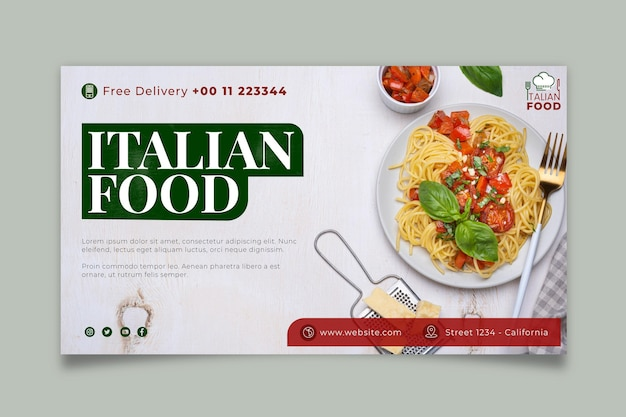 이탈리아 음식 배너 서식 파일