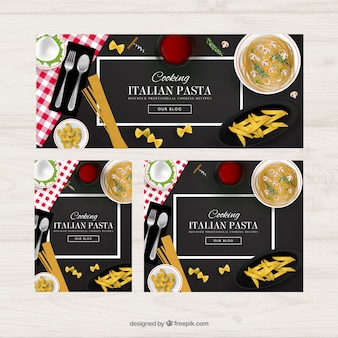 Italian food banners Free Vector