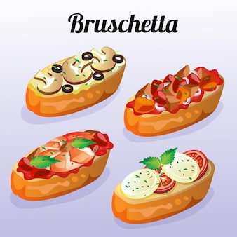 Italian food bruschetta set