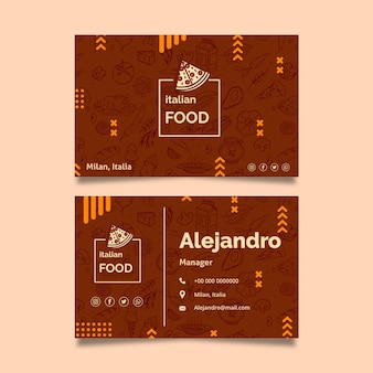 Italian food business card template