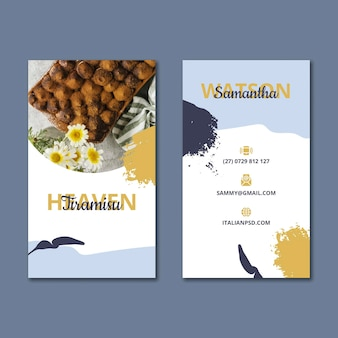 Вертикальный шаблон двусторонней визитки итальянской кухни