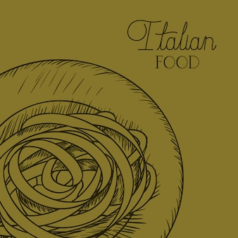 Italian food drawn dish with spaghettis