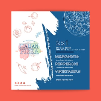 Italian food flyer square