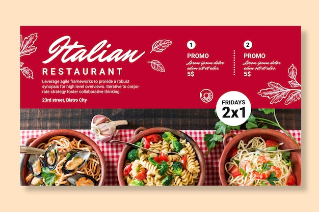 Italian food horizontal banner template