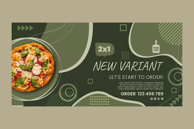 Modello di banner orizzontale di cibo italiano