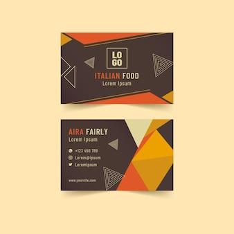 Italian food horizontal business card