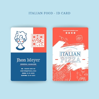 Italian food id card concept