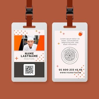 Modello di carta d'identità di cibo italiano
