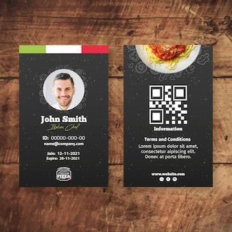 Italian food id card template