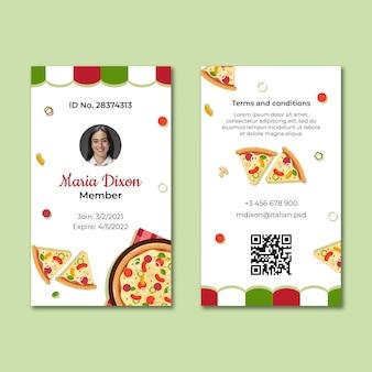 Modello di carta d'identità del cibo italiano