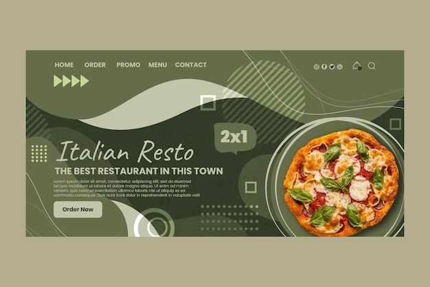 Modello di pagina di destinazione del cibo italiano