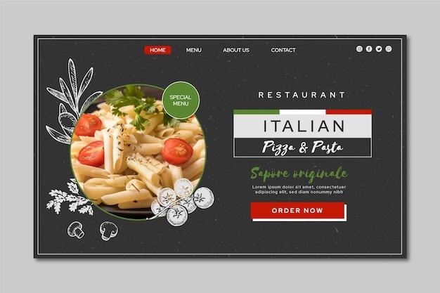 Pagina di destinazione del cibo italiano