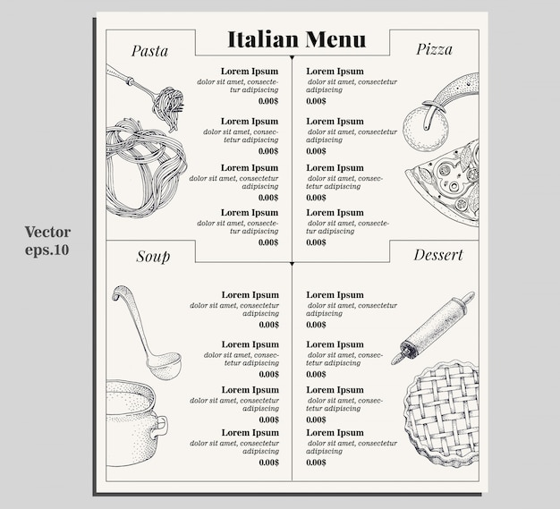 Italian food menu of different pasta, pizza, soup and dessert.