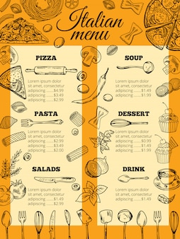 Italian food menu of different pasta and pizza
