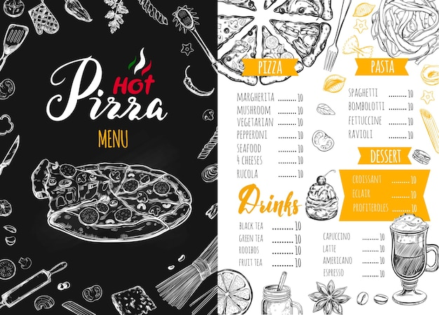 Italian food menu for a restaurant