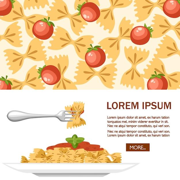 Italian food pasta farfalle with tomatoes