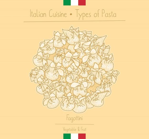 Italian food pasta with filling aka fagottini