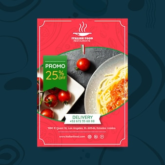 Italian food restaurant poster template