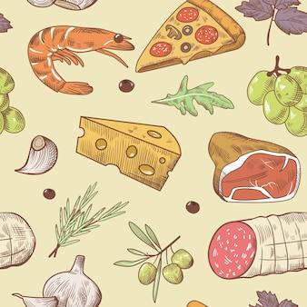 イタリア料理のシームレスなパターン