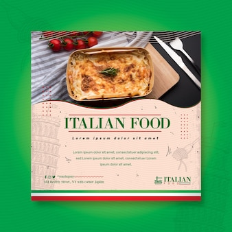 Italian food square flyer print template