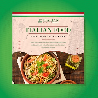 Italian food square flyer template