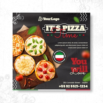 Italian food squared flyer template