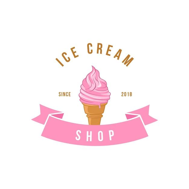 이탈리아 젤라토 아이스크림 로고 템플릿 벡터 디자인