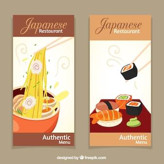 Italian and japanese restaurant banners