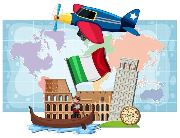Italian landmarks infront of map
